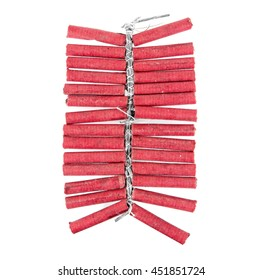 Red firecrackers string isolated on white background.Firecrackers