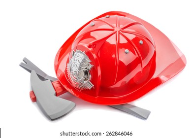 Red fireman helmet isolated on white background