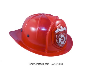 Red fireman helmet isolated on white background