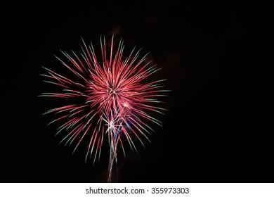 Red Fireworks Celebration