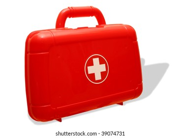 Red first aid kit bag with shadow
