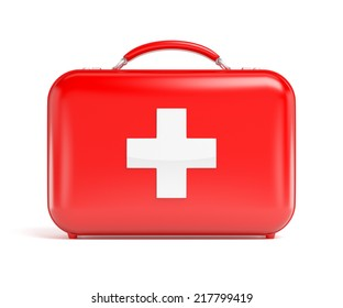 Red first aid kit isolated on white background