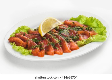 red fish with lemon
