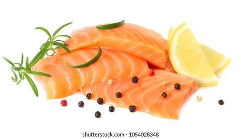 Red fish. Raw salmon fillet with rosemary isolate on white background