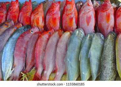 Red Fish for sale in the fish market, Indonesia