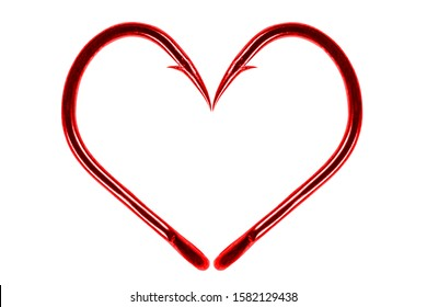 Red fishing hook love heart sign isolated on a white background. Fishing hook close up. Fishing tackle. Stainless steel hooks. Fish hooks in heart shape. The concept of love of fishing. - Shutterstock ID 1582129438
