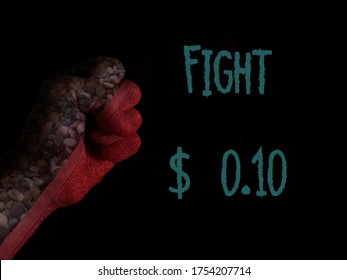 red fist black background with text fight ten cents. $0.10 say no to the new pricing system of shutterstock that  exploits contributor's efforts. Change back to the old prices. Respect photographers