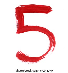 Red Five isolated on white background. Number 5 painting stroke sketch. One from collection set.