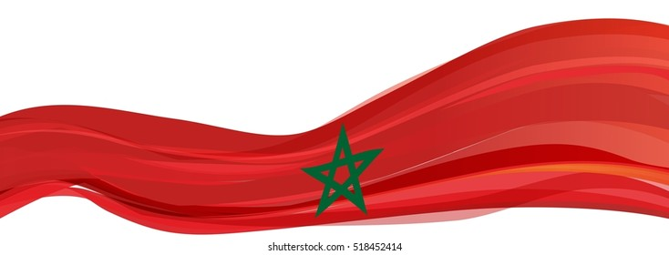 red flag with a green five-pointed star of the Kingdom of Morocco