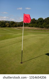 Red Flag indicating a hole on a golf course green