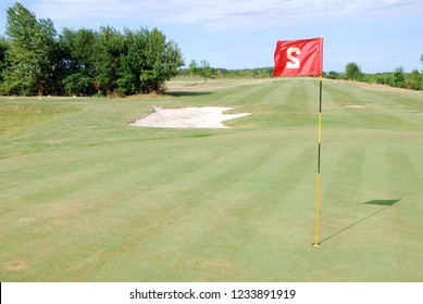 red flag number two on golf course