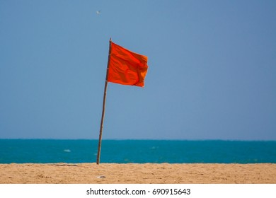 Red Flag on beach , signal of danger