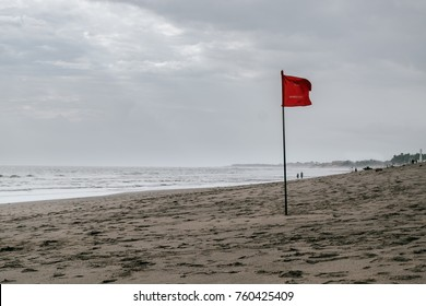 Red flag swimming prohibited on the beach