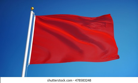 Red flag waving against clean blue sky, close up, isolated with clipping path mask alpha channel transparency