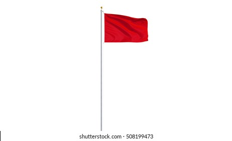Red flag waving against clean blue sky, long shot, isolated with clipping path mask alpha channel transparency