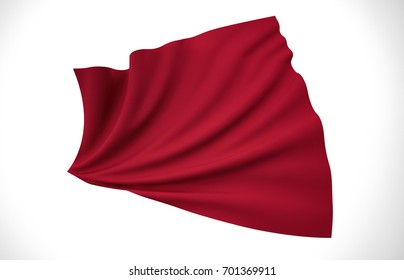 Red Flag, Wavy Fabric Flag, 3D Render