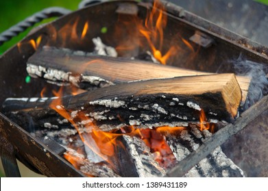 Red flame from a cut of a tree. Firewood burning in a brazier. Flames of fire preparing for cooking kebabs. Charcoal brazier coal