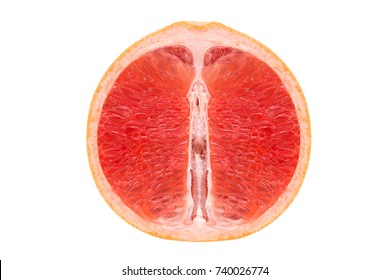 Red flesh of juicy grapefruit on a white background