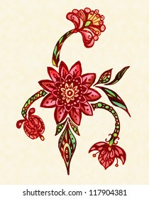 Red floral whimsical pattern