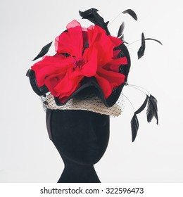 Red flower and black feathers races hat hand made