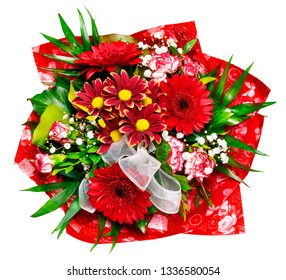 red flower bouquet photogtaphed from above - isolated on white background