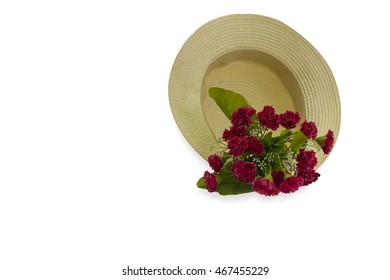 Red flower on summer hats on isolated.