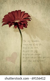 Red flower with Valentine poem textured
