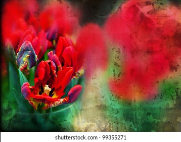 red flowers background, digital art of tulips