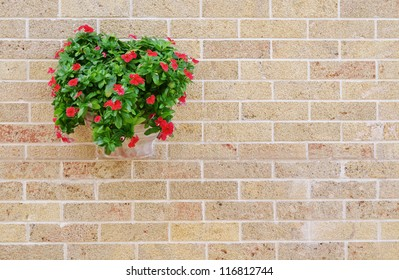 Red flowers in the flowerpot on the brick wall