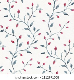 Red flowers on white background. Seamless watercolor floral pattern
