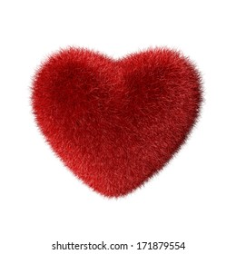 Red fluffy heart isolated on white background