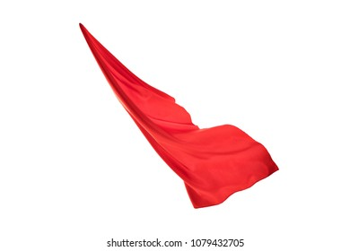 red flying fabric isolated on white background. cloth in the wind