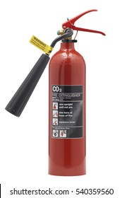 RED FOAM FIRE EXTINGUISHER ON WHITE BACKGROUND