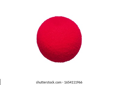 Red foam nose on a white background. Red nose day