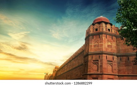 Red foard at New Delhi, Heritage Building, Historical place at India New Deli - Image