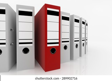 Red folder standing out from a lot of white folders - database storage concept.