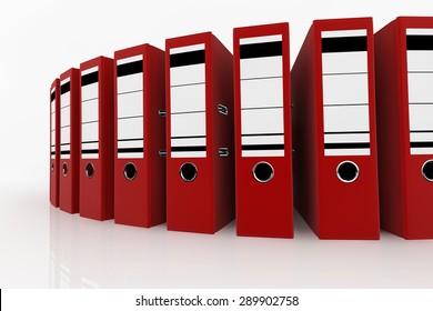 Red folders arrange on white background - database storage concept.