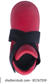 Red foot protector in  view of above isolated white background