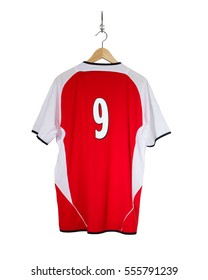 Red Football shirt hanging number nine on hook and isolated on white background