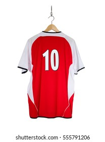 Red Football shirt No.10  hanging on hook and isolated on white background