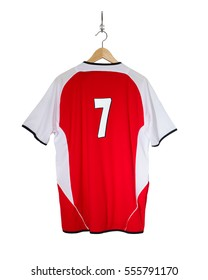 Red Football shirt number 7 hanging on hook and isolated on white background