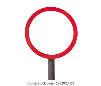 red forbidden sign isolated on white