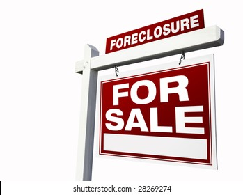 Red Foreclosure Real Estate Sign Isolated on White.