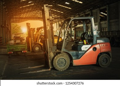 Red Forklift in Factory