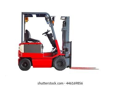 Red forklift truck shot on white background