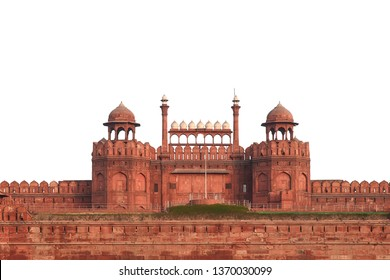 Red Fort (Delhi, India) isolated on white background