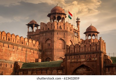 Red Fort Delhi at sunset - A UNESCO world heritage site and a former residence of the emperors of the Mughal dynasty for over 200 years.