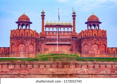 Red Fort is a historic fort UNESCO world Heritage Site at Delhi. On Independence day, the Prime Minister hoists Indian flag at main gate of fort & delivers nationally broadcast speech from its rampart