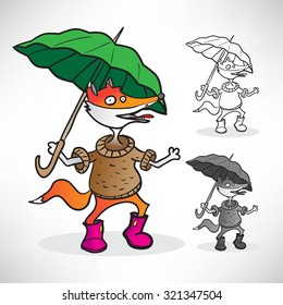 red fox in a sweater, pink boots and a green umbrella in the rain