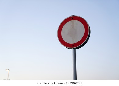 Red Frame Circle  Sign Board on blue sky Background